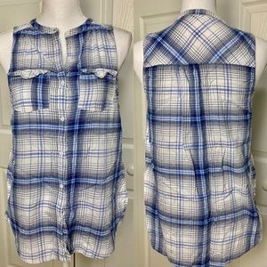 Maurices White and Blue Plaid Sleeveless Button Up